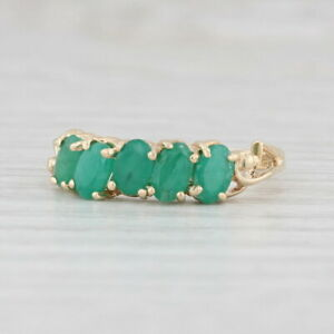 1.20ctw Emerald Ring 10k Yellow Gold Size 7 Stackable May Birthstone