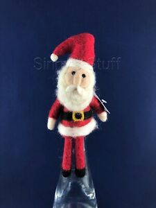 Pottery Barn Holiday Felt Santa Claus Wine Bottle Topper Wool Figure Christmas