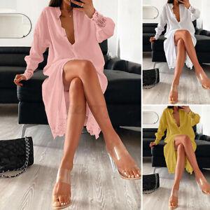 Womens Sexy Shirt Dress Oversized Casual Sundress Holiday Party Long Maxi Tee UK