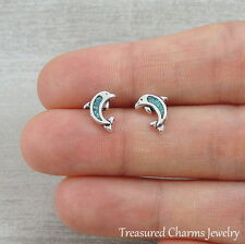 925 Sterling Silver Turquoise Dolphin Post Earrings - Ocean Sea Stud Earrings