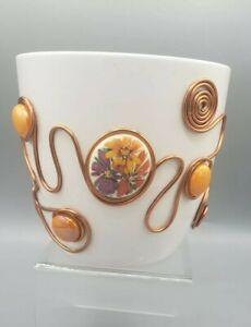 White Porcelain Vase Bowl Wire Wrapped Serving Dish Handmade Marigold Gold Art