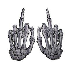 Kreepsville 666 Skelli Hand Finger Bone Patch Pair White Middle Finger