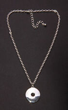 GLISTENING SILVER METAL LINK DAY NECKLACE WITH CIRCULAR CUT OUT PENDANT (ZX38)