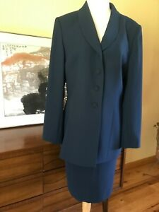 New LE SUIT Womens  2pc TEal SKIRT SUIT 10  Lined NWT