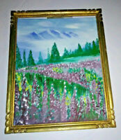 VTG Landscape Oil Painting Field of Purple Wild Flowers Mountains Signed Tonnard