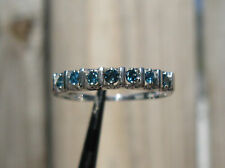 .35ctw NATURAL BLUE DIAMOND RING! 7 STONE, 10K WHITE GOLD, SPARKLES, Size 7