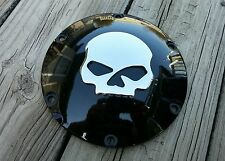 Black Derby w/Chrome Skull fits 2004 later Sportster XL Harley CLEARANCE was $54