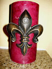 THREE Cast Iron, Fleur de Lis Candle Pin, Tack, Old World, Tuscan, French