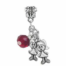 January Twins Girls Sisters Daughters Red Birthstone Charm for European Bracelet