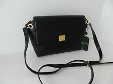 NWT Ralph Lauren Agdon Messenger Black Leather Crossbody Bag Purse