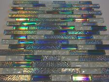 mosaico de vidrio nácar efecto plata verde azul rainbow blanco 8mm baño azulejo