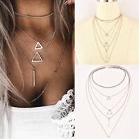 Bohemia Multi-layer Silver Triangle Strip Pendant Necklace Jewelry