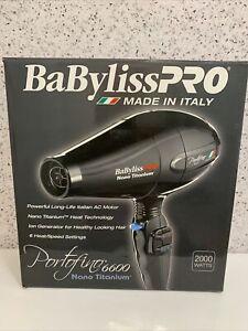 BaByliss-Pro Nano Titanium Portofino Hair Dryer Professional Ionic Black NEW