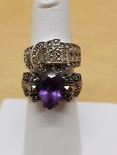 Vintage JJ and ESPO sterling silver amethyst, marcasite  rings 2