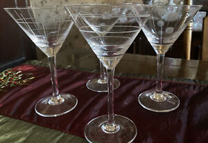 Set Of Four Martini Glasses With Etched Lines And Circles/ Polka dots