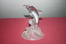 Cristal D'Arques France Crystal Dolphin Figurine On Frosted Glass Wave Base