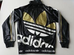 Adidas Chile 62 Jacke Big Trefoil Logo S Schwarz Gold Herren Rare wetlook