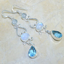 GENUINE RAINBOW MOONSTONE BLUE TOPAZ AGATE GEM EARRINGS  925 STERLING SILVER HOT