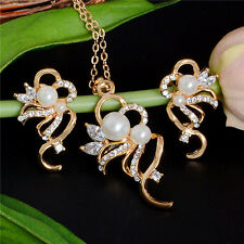 Fine Party Bridal Jewelry Sets 18K Gold Filled Crystal Pearl Necklace Earrings