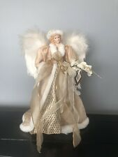 "16"" Christmas Holiday Angel Tree Topper Gold with Elegant Robes and Wings Nwt"
