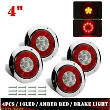4X 4inch Round Red/Amber 16 LED Truck Trailer Brake Stop Turn Signal Tail Lights