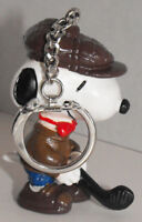 Golfer Snoopy (brown hat) Figurine Keychain Peanuts Figure Key Chain SNPK017a