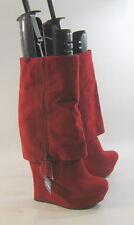 "new Red 5.5""High Wedge Heel 1.5""Platform Round Toe Mid-Calf Sexy Boots Size 7"