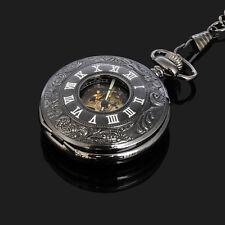 Schwarz Skelett Römische Ziffern Mechanische Herren Automatische Taschenuhren