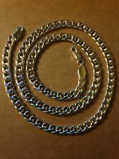 """Curb Link Necklace 925 Silver Plated & Stamped 24"""" Length 7mm Wide Highly Polish"""