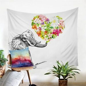 Floral Heart Elephant Wall Tapestry Hanging Throw Cover Home Room Decoration