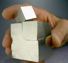 LARGE SHINY 2-CUBE GOLDEN PYRITE CRYSTALS CLUSTER w A 4.5 CM CUBE + 3-D VIDEO