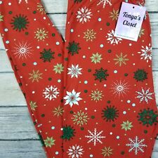 PLUS Red Christmas Snowflake Leggings Buttery Soft Curvy 10-18 TC