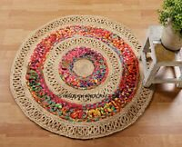 Hand Woven Braided 100% Cotton Area Rug in Multi Color Jute Chindi Reversible
