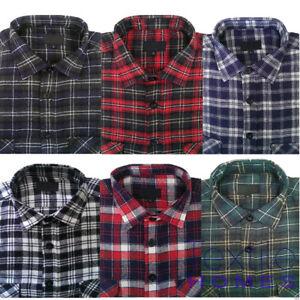 Mens Flannel Brushed 100% Cotton Work Shirts Lumberjack Check Long Sleeve Shirt
