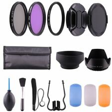 55mm UV CPL FLD Filter Set Kit Lens Hood Cap Keeper Cleaning Kit For Canon Nikon