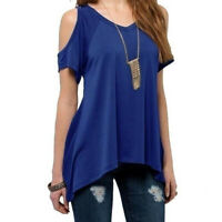 UK Women Summer Cold Shoulder Tops Blouse Tee Casual Short Sleeve Loose T-Shirt