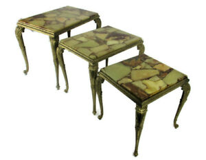 Set of 3 Nesting Stacking  Coffee Side Tables Marble Brass Hollywood regency WOW