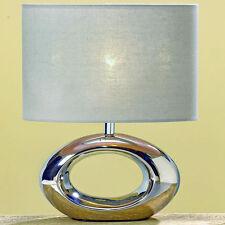 Lampe Tischlampe Keramik Silber Tischleuchte Beleuchtung