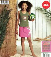 Mädchen 2tlg. Freizeitset Top Shirt Rock Olivgrün Rosa Baumwolle Öko-Tex Kinder