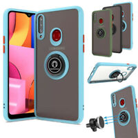 For Samsung Galaxy A20s Magnetic Car Holder Case Rotation Ring Kickstand Cover