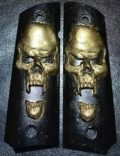Rock Island 1911 Full Size pistol grips small gold skull on black plastic