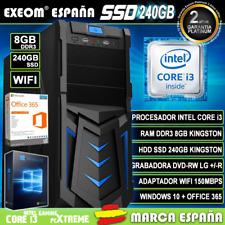 Ordenador Gaming Pc Intel i3 8GB SSD 240GB Wifi Sobremesa Windows 10 Office 365