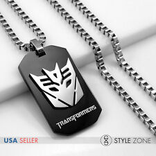 Stainless Steel Transformers DECEPTICON Black Dog Tag Pendant w Box Necklace 13D