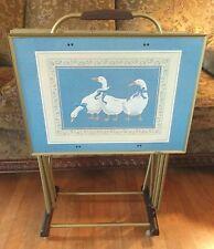Vtg TV Tray Folding Tables Elizabeth Brownd Blue Ribbon Geese Set Of 4 & Rack