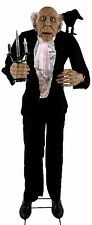HALLOWEEN ANIMATED BUTLER W/ TALKING RAVEN HAUNTED HOUSE PROP DECOR LIFE SIZE