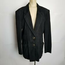 Bally Womens Size 10 Suede Leather Blazer Jacket Black Gold Buttons