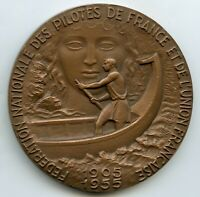FRANCE AVIATION ART DECO MEDAL NATIONAL FEDERATION OF PILOTS OF FRANCE, GUIRAUD