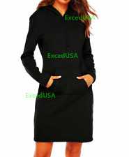 Women Party Cocktail Dress Long Sleeve Dress Evening Hooded Bodycon Tops Fleece