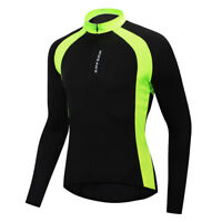 Men's Long Sleeve Cycling Jersey Breathable Bicycle Shirt MTB Tops + Bike Gloves