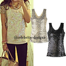 tp75 CFLB Bling Bling Sleeveless Vintage Gold Sequin Beaded Singlet Top 12 14 16